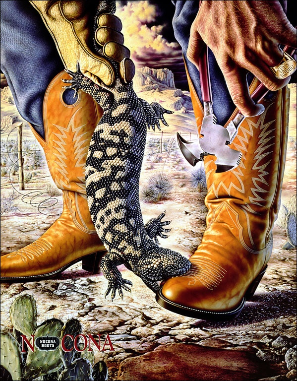 Alex Ebel's iconic Nocona Boots ad from the early 1980's